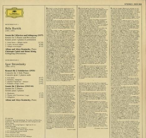 バルトーク:2台のピアノと打楽器のためのソナタ/ストラヴィンスキー:2つのピアノのための協奏曲&2つのピアノのためのソナタ バルトーク/ストラヴィンスキー 画像