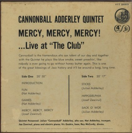 MERCY MERCY MERCY/CANNONBALL ADDERLEY CANNONBALL ADDERLEY 画像