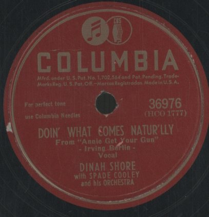 「I GOT LOST IN HIS ARMS」「DOIN' WHAT COMES NATUR'LLY」/DINAH SHORE WITH ORCHESTRA DINAH SHORE 画像