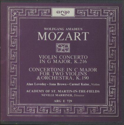 モーツァルト:ヴァイオリン協奏曲第3番、2つのバイオリンのためのコンチェルトーネ  画像