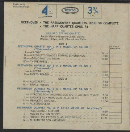 ベートーヴェン:弦楽四重奏曲第7番〜9番「ラズモフスキー」「ハープ」  画像