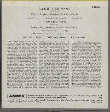 シューマン:ピアノ協奏曲/グリーグ:ピアノ協奏曲  画像