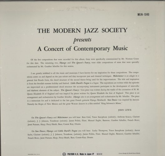 A CONCERT OF CONTEMPORARY MUSIC/THE MODERN JAZZ SOCIETY THE MODERN JAZZ SOCIETY 画像