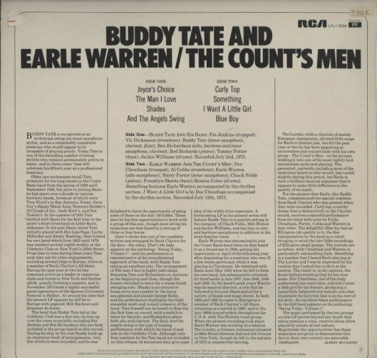 BUDDY TATE AND EARLE WARREN BUDDY TATE 画像