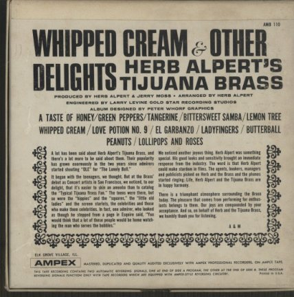 WHIPPED CREAM & OTHER DELIGHTS/HERB ALPERT'S TIJUANA BRASS HERB ALPERT 画像