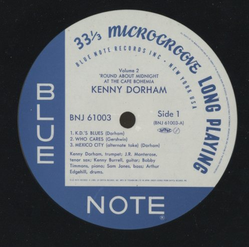 'ROUND ABOUT MIDNIGHT AT THE CAFE BOHEMIA VOL.2 KENNY DORHAM  LPジャズ 画像c