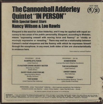 IN PERSON/THE CANNONBALL ADDERLEY QUINTET CANNONBALL ADDERLEY 画像