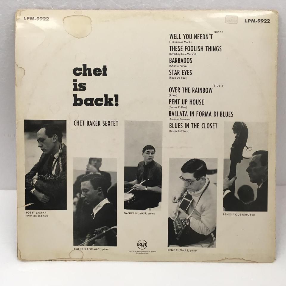 CHET IS BACK/CHET BAKER CHET BAKER  LPジャズ 画像b