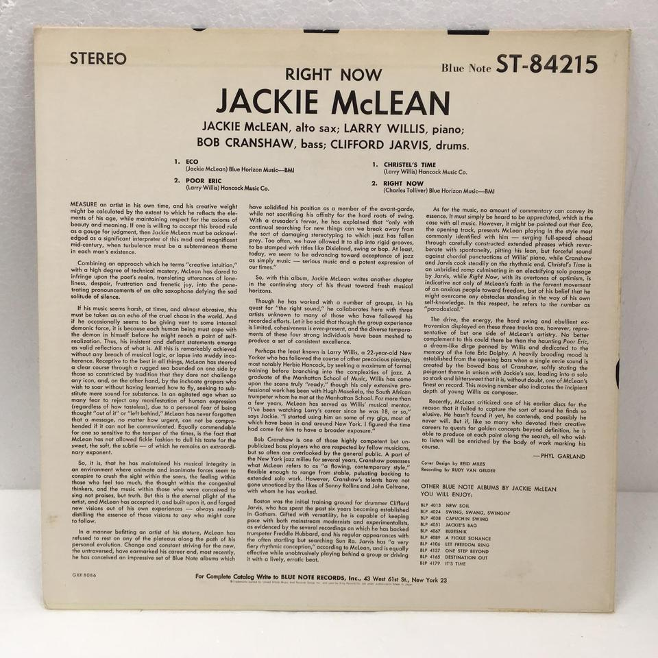 RIGHT NOW/JACKIE McLEAN JACKIE McLEAN  LPジャズ 画像b