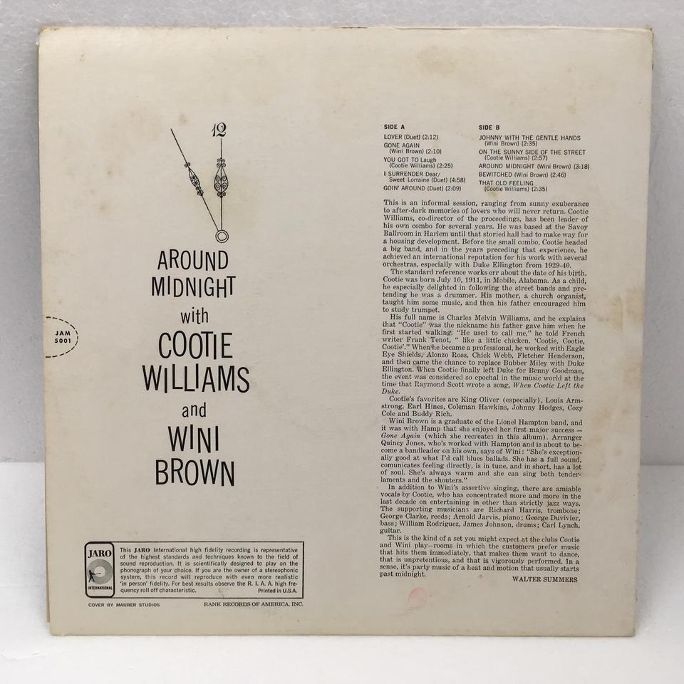 AROUND MIDNIGHT WITH COOTIE WILLIAMS AND WINI BROWN  COOTIE WILLIAMS AND WINI BROWN  LPジャズボーカル 画像b