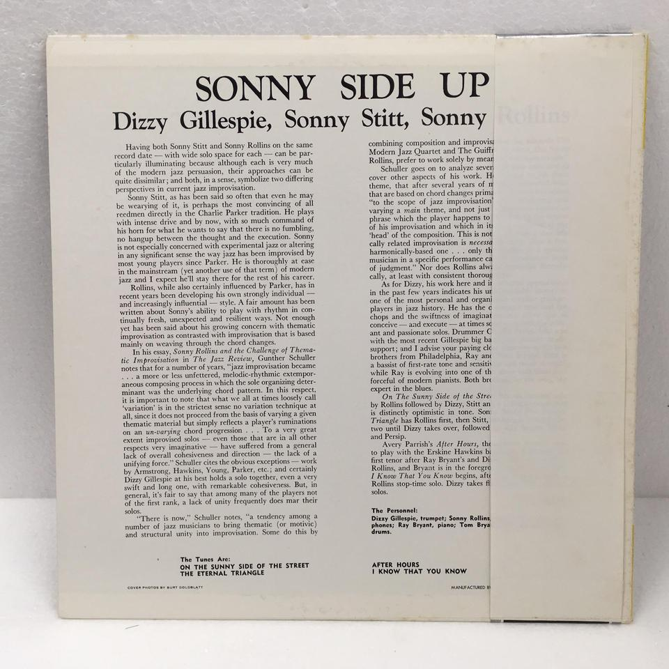 SONNY SIDE UP/DIZZY GILLESPIE DIZZY GILLESPIE  LPジャズ 画像b