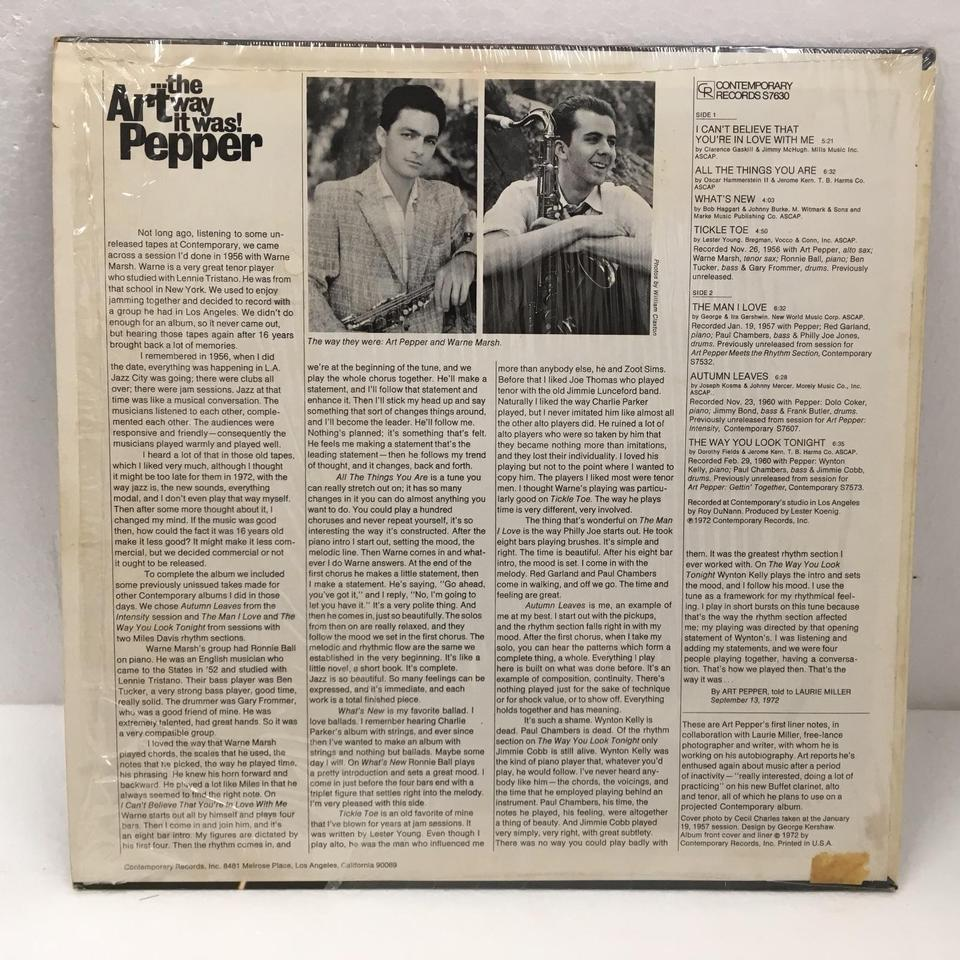 THE WAY IT WAS !/ART PEPPER ART PEPPER  LPジャズ 画像b