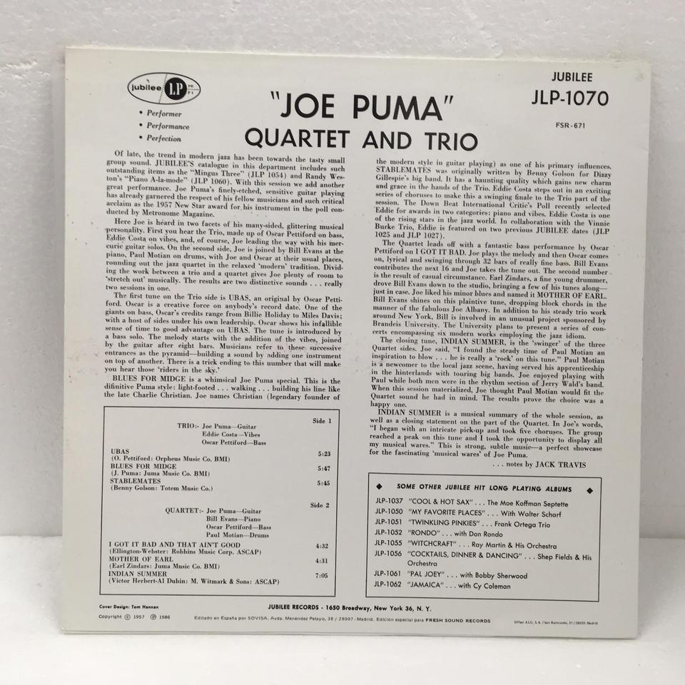 JOE PUMA QUARTET AND TRIO JOE PUMA 画像