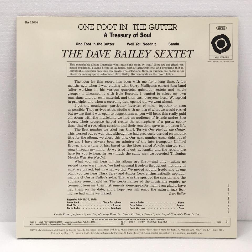 ONE FOOT IN THE GUTTER(A TREASURY OF SOUL)/DAVE BAILEY DAVE BAILEY  LPジャズ 画像b