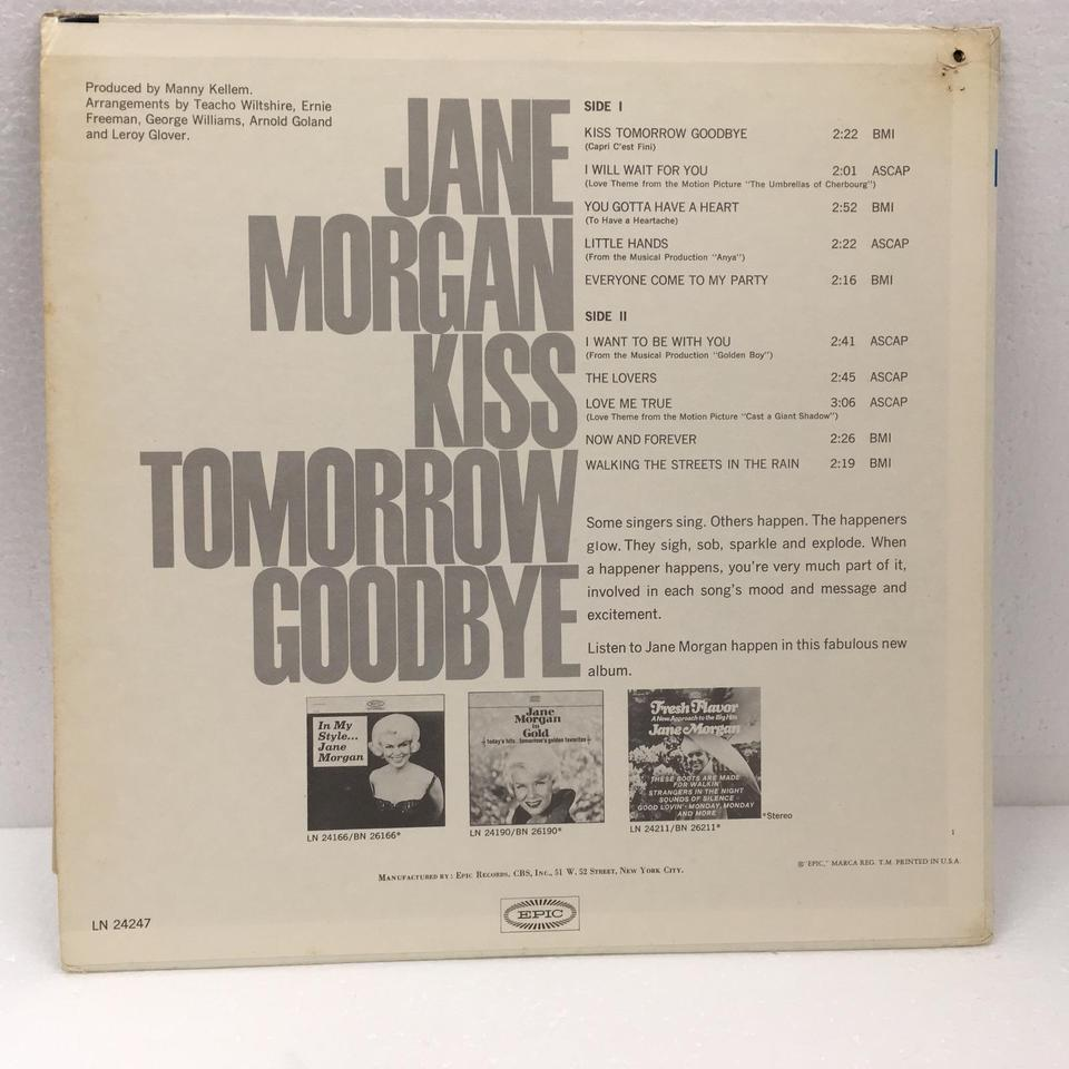 KISS TOMORROW GOODBYE/JANE MORGAN JANE MORGAN  LPジャズボーカル 画像b
