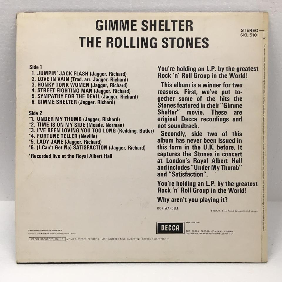 GIMME SHELTER/ROLLING STONES ROLLING STONES  LP洋楽 画像b