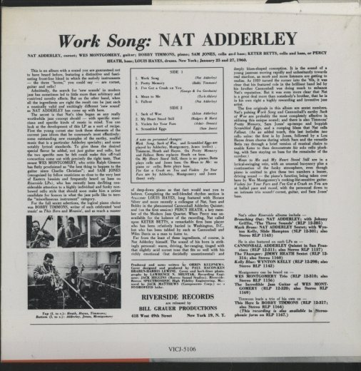 WORK SONG/NAT ADDERLEY NAT ADDERLEY 画像