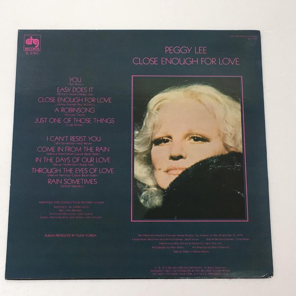 CLOSE ENOUGH FOR LOVE/PEGGY LEE PEGGY LEE 画像