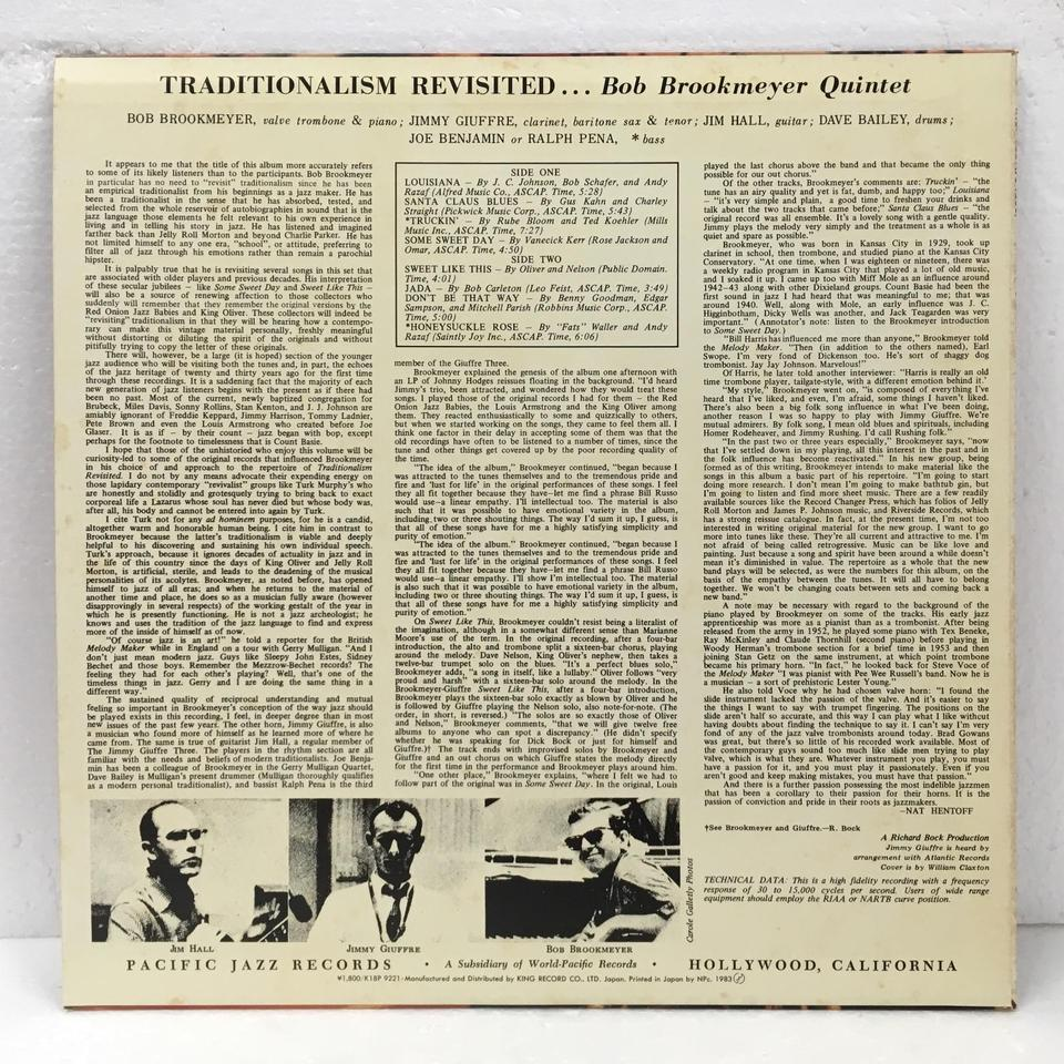 TRADITIONALISM REVISITED/BOB BROOKMEYER BOB BROOKMEYER 画像