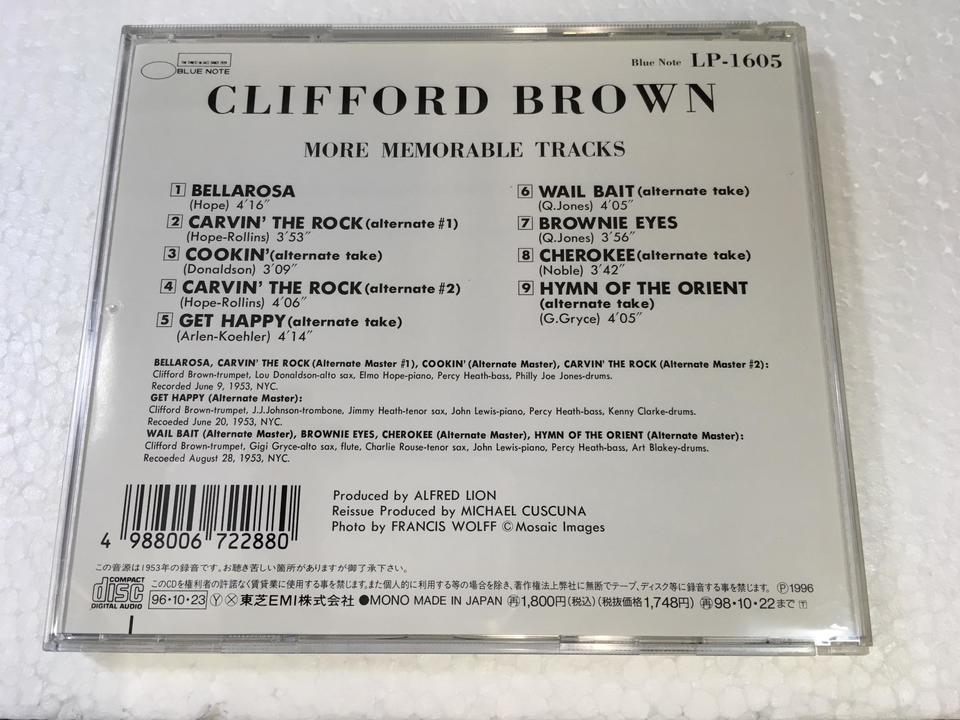 CLIFFORD BROWN MORE MEMORABLE TRACKS  CLIFFORD BROWN 画像