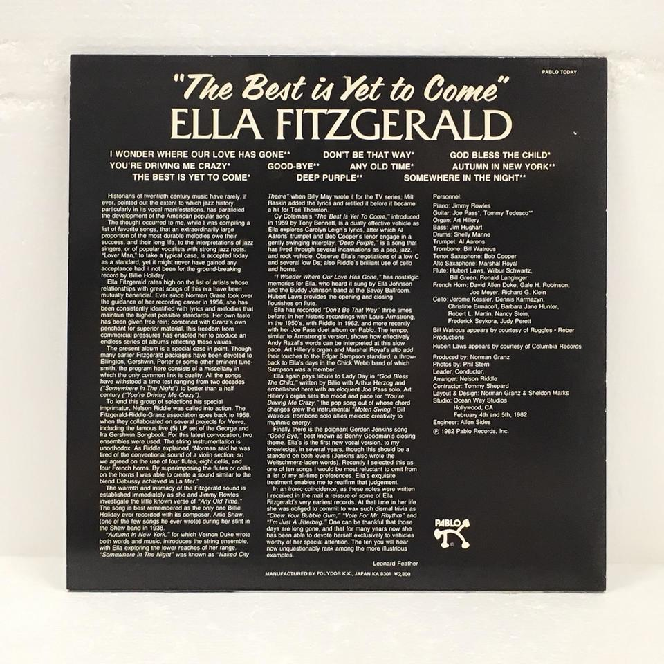 THE BEST IS YET TO COME/ELLA FITZGERALD ELLA FITZGERALD 画像
