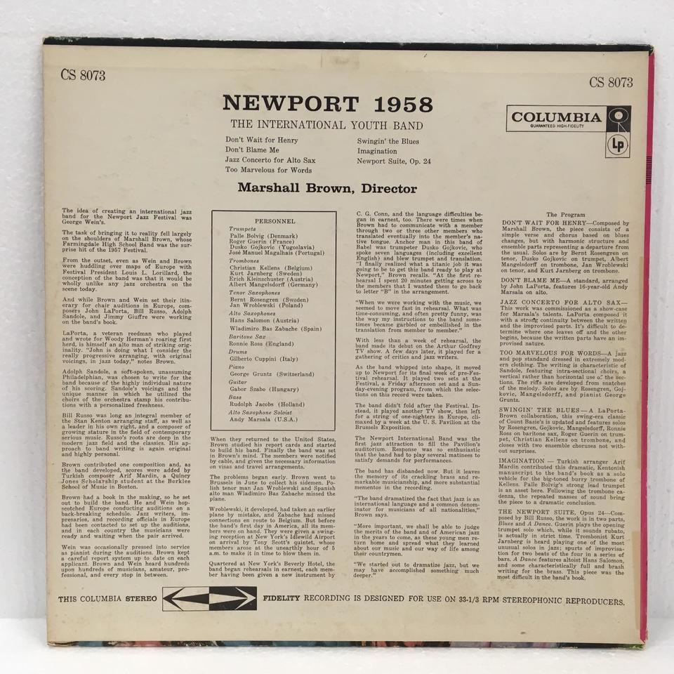 NEWPORT 1958/THE INTERNATIONAL YOUTH BAND MARSHALL BROWN 画像