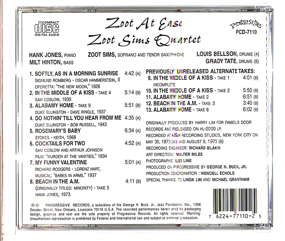 ZOOT AT EASE/ZOOT SIMS ZOOT SIMS 画像