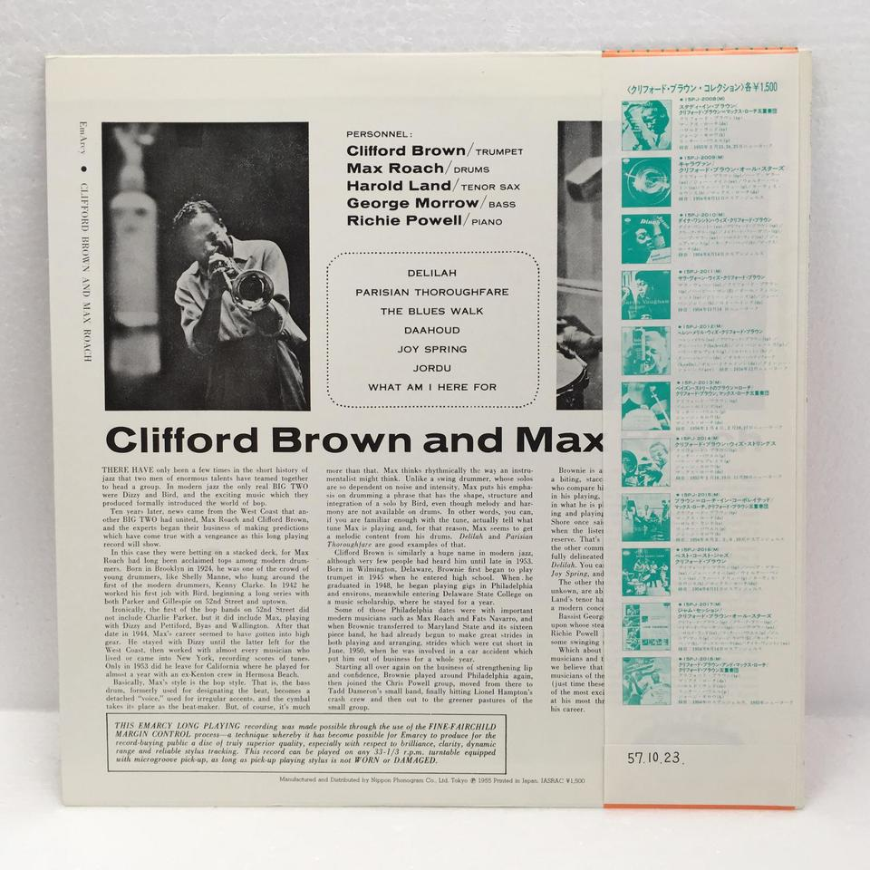 CLIFFORD BROWN AND MAX ROACH CLIFFORD BROWN 画像
