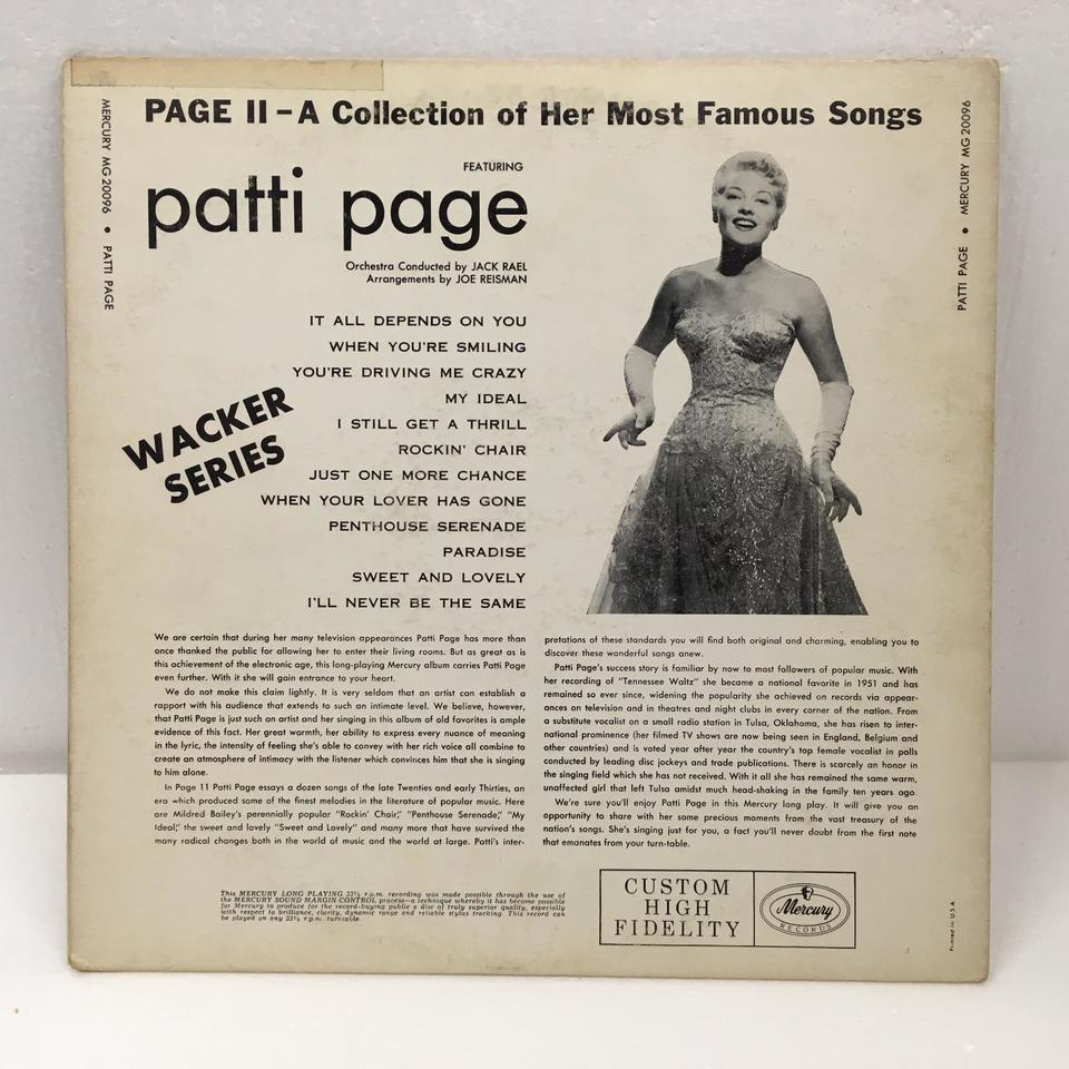 PAGE 2 - A COLLECTION OF HER MOST FAMOUS SONGS/PATTI PAGE PATTI PAGE 画像