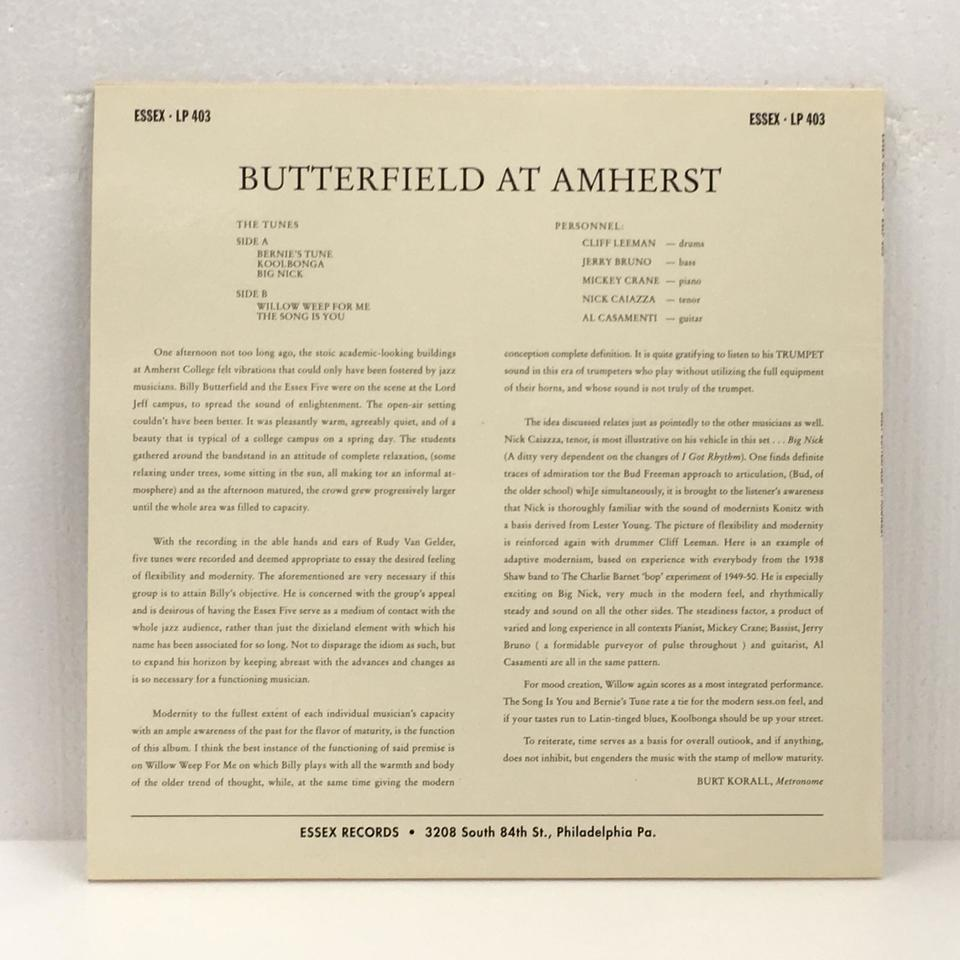 BILLY BUTTERFIELD AT AMHERST BILLY BUTTERFIELD 画像
