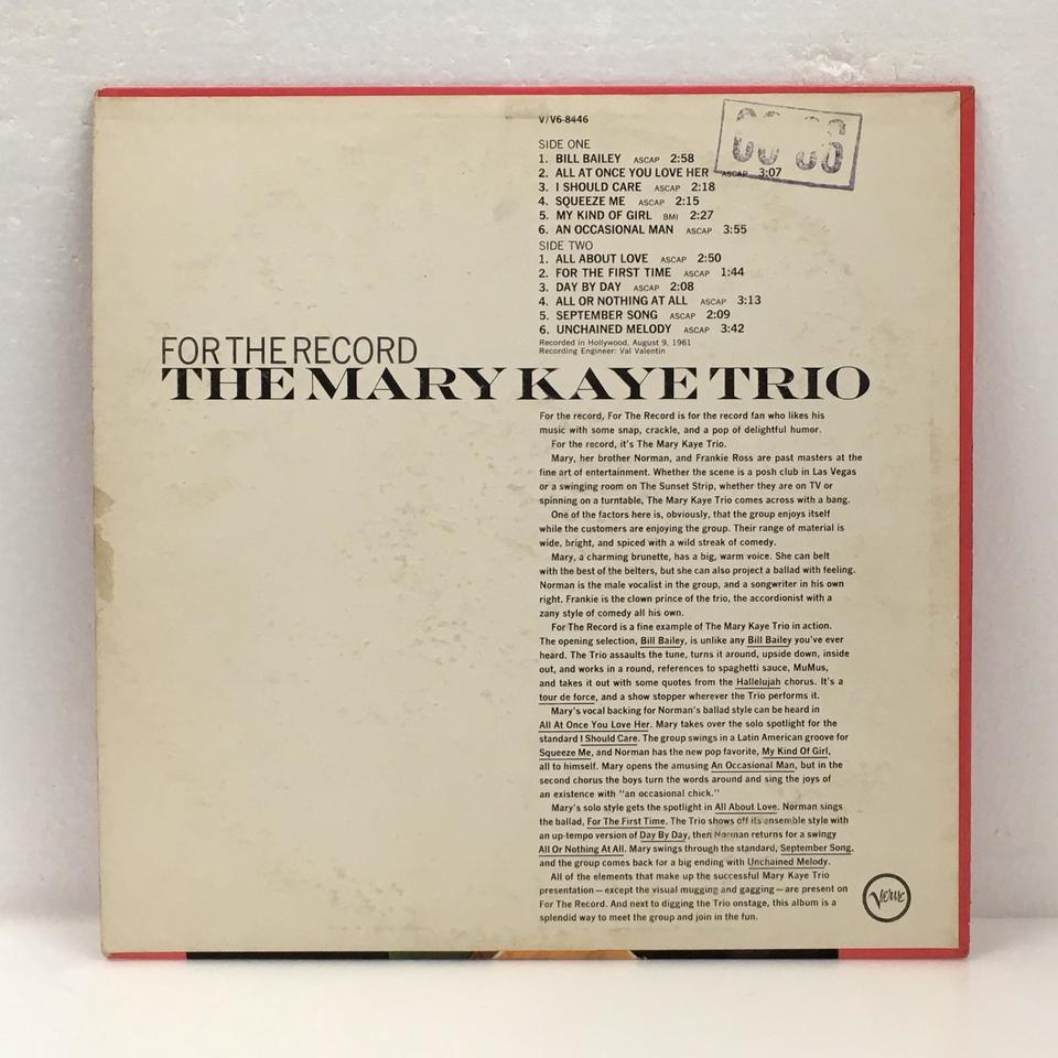 FOR THE RECORD/THE MARY KAYE TRIO THE MARY KAYE TRIO 画像