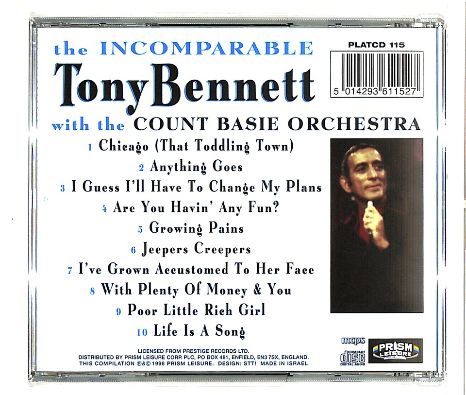 THE INCOMPARABLE/TONY BENNETT WITH THE COUNT BASIE ORCHESTRA TONY BENNETT 画像