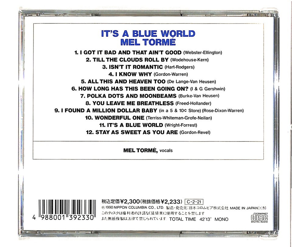 IT'S A BLUE WORLD/MEL TORME MEL TORME 画像
