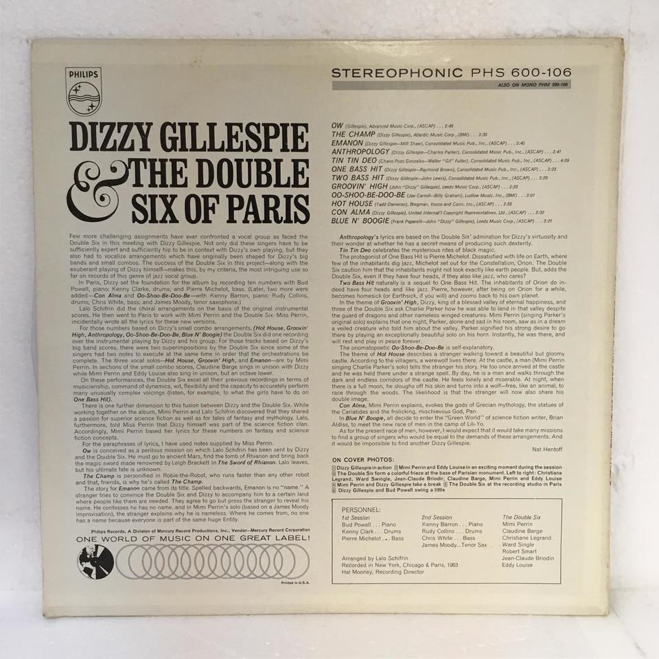 DIZZY GILLESPIE&THE DOUBLE SIX OF PARIS DIZZY GILLESPIE & THE DOUBLE SIX OF PARIS 画像