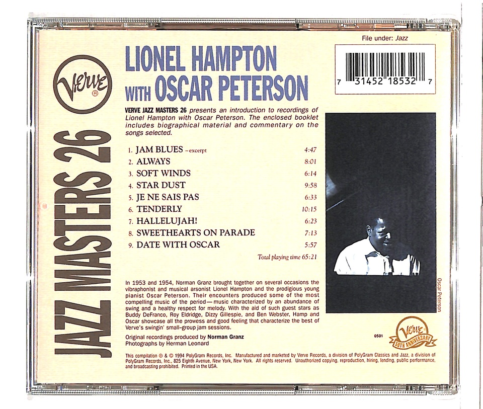 VERVE JAZZ MASTERS 26/LIONEL HAMPTON WITH OSCAR PETERSON  LIONEL HAMPTON/OSCAR PETERSON  画像