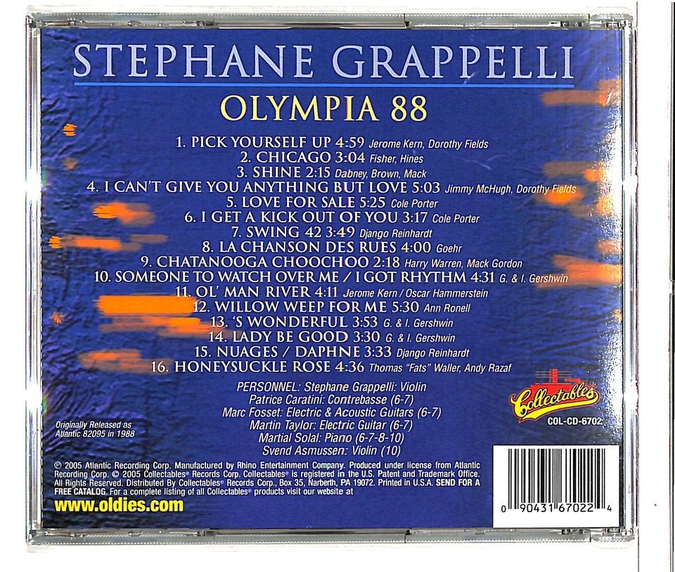 OLYMPIA 1988/STEPHANE GRAPPELLI STEPHANE GRAPPELLI 画像