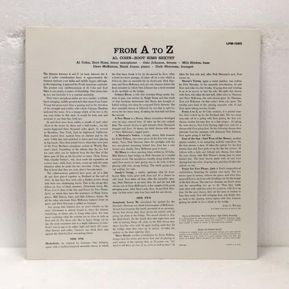 FROM A TO Z/AL COHN & ZOOT SIMS AL COHN/ZOOM SIMS 画像