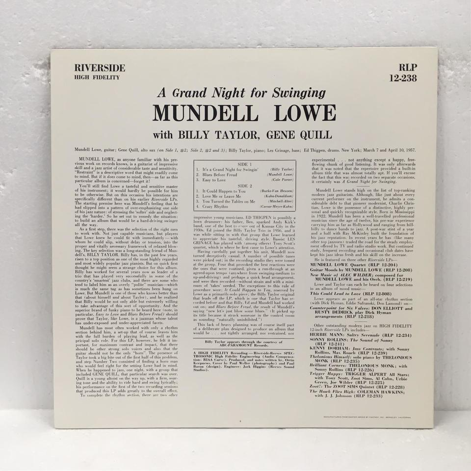 A GRAND NIGHT FOR SWINGING/MUNDELL LOWE MUNDELL LOWE 画像