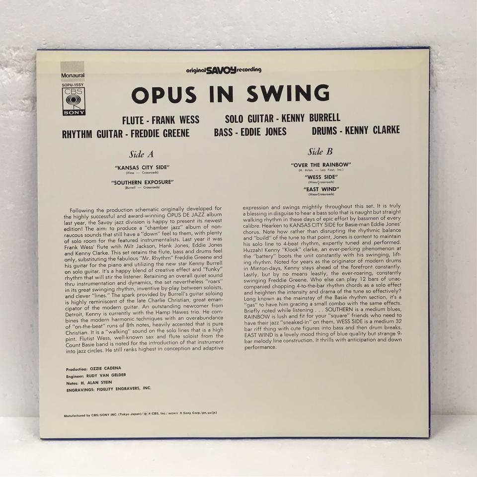 OPUS IN SWING/FRANK WESS&KENNY BURRELL FRANK WESS 画像