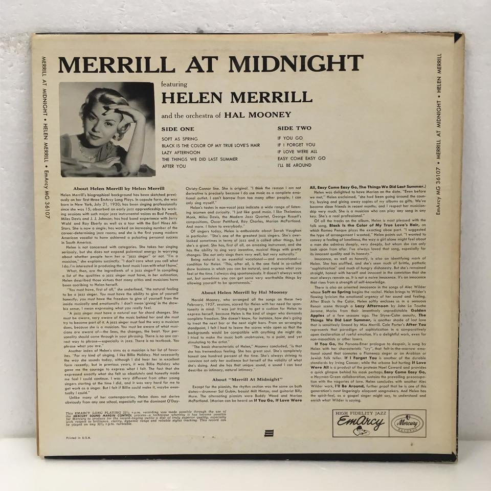 MERRILL AT MIDNIGHT/HELEN MERRILL HELEN MERRILL 画像