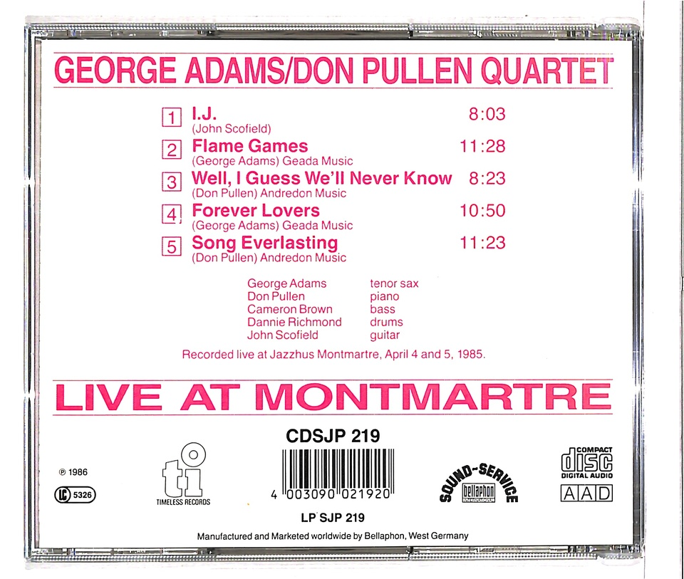 LIVE AT MONTMARTRE/GEORGE ADAMS GEORGE ADAMS 画像