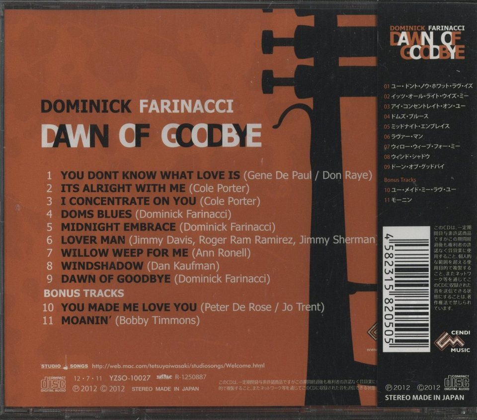 DOWN OF GOODBYE/DOMINICK FARINACCI DOMINICK FARINACCI 画像