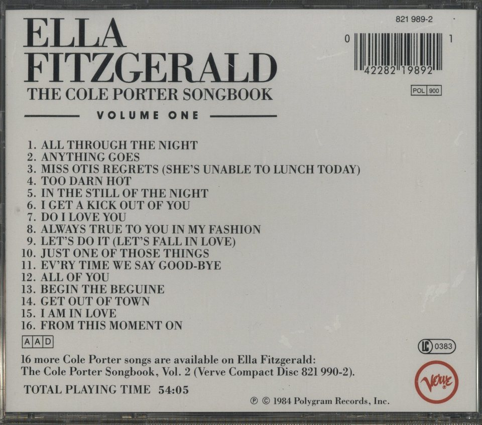 ELLA FITZGERALD SINGS THE COLE PORTER SONG BOOK VOL.1 ELLA FITZGERALD 画像