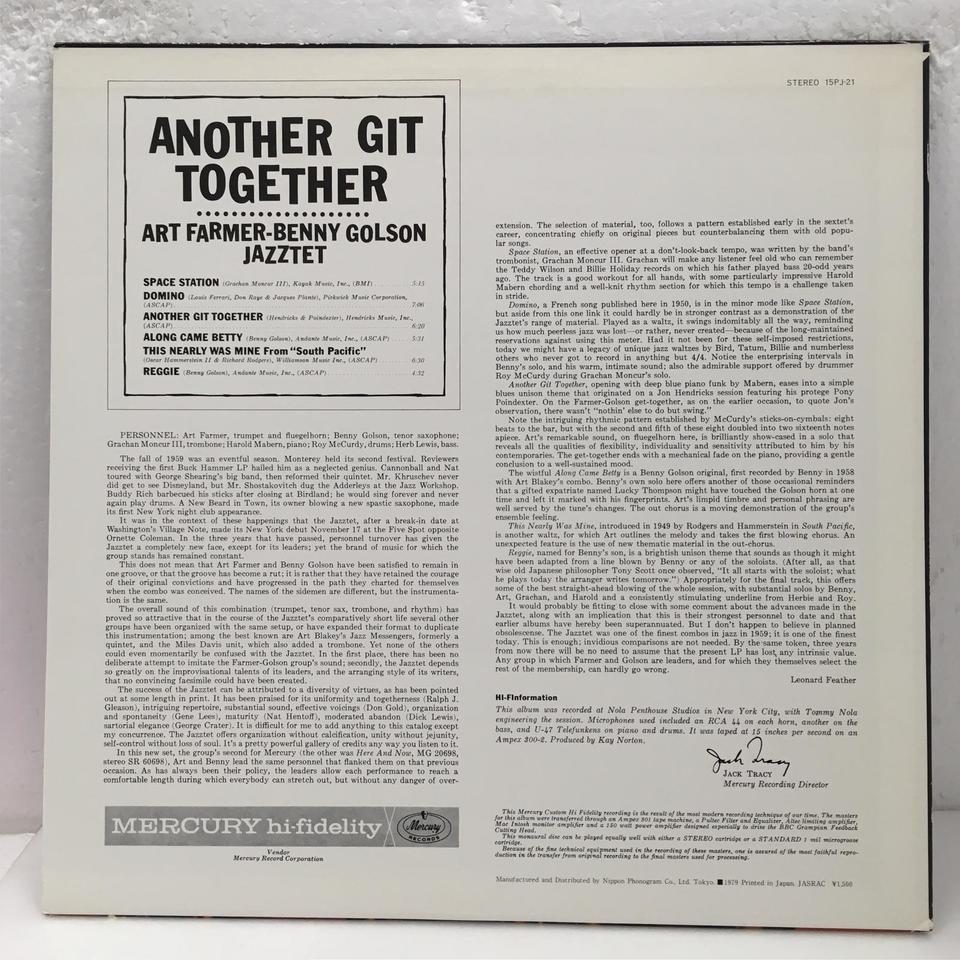 ANOTHER GIT TOGETHER/ART FARMER BENNY GOLSON JAZZTET ART FARMER-BENNY GOLSON JAZZTET 画像