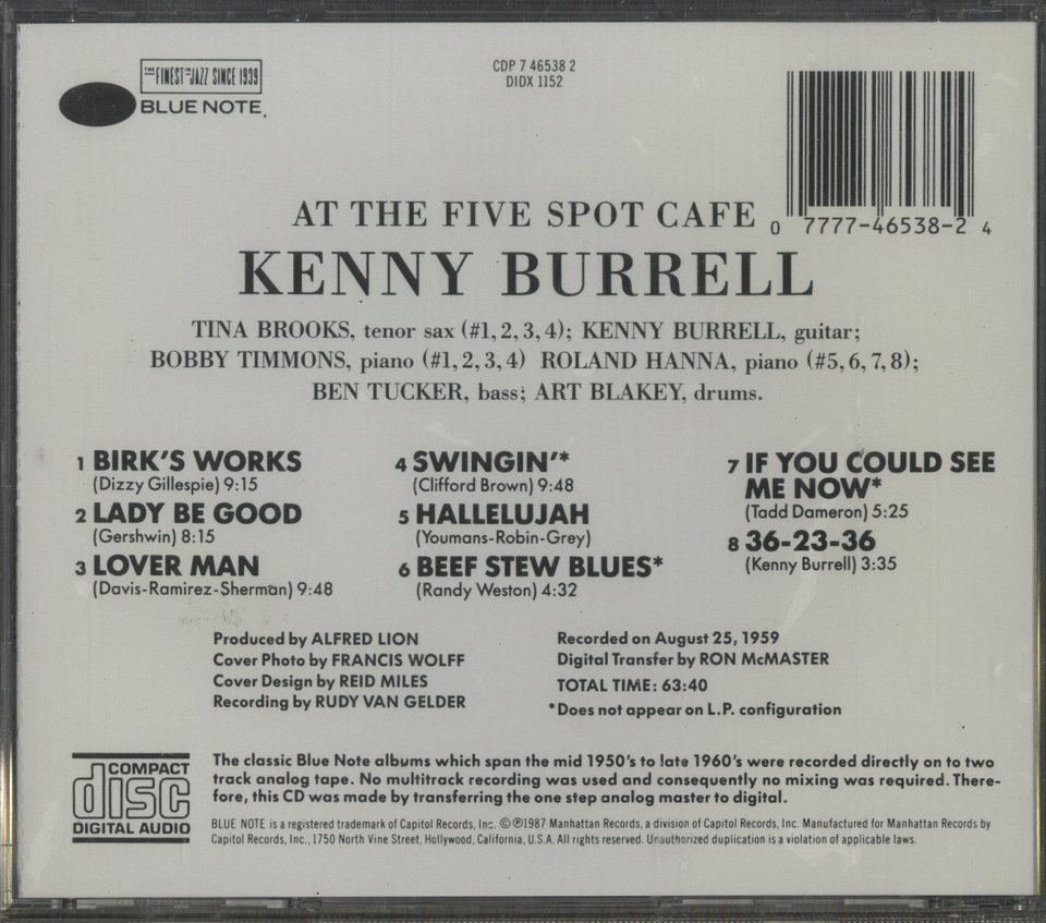 AT THE FIVE SPOT CAFE/KENNY BURRELL KENNY BURREL 画像