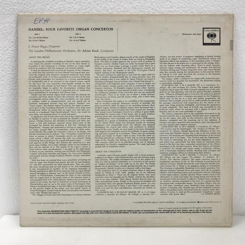 ヘンデル:オルガン協奏曲集 ヘンデル 画像