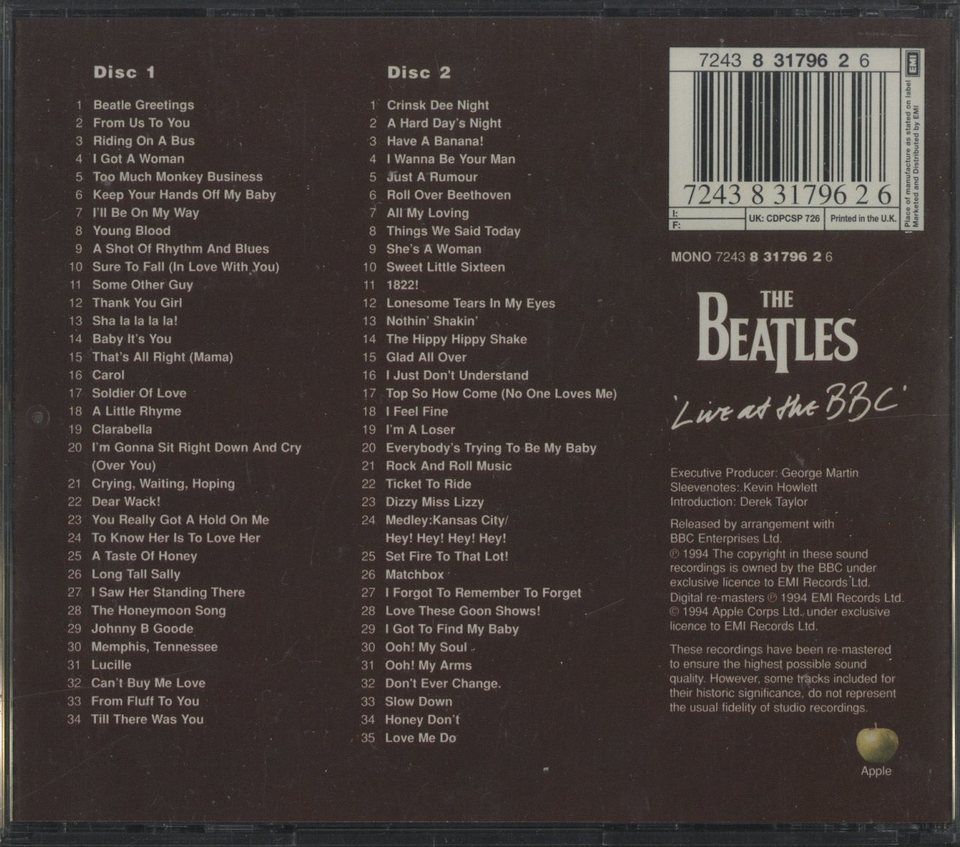 LIVE AT THE BBC/THE BEATLES THE BEATLES 画像