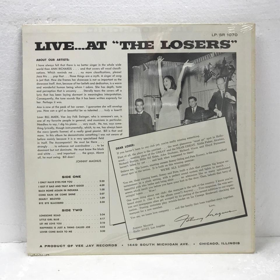 LIVE...AT THE LOSERS/ANN RICHARDS  ANN RICHARDS  画像