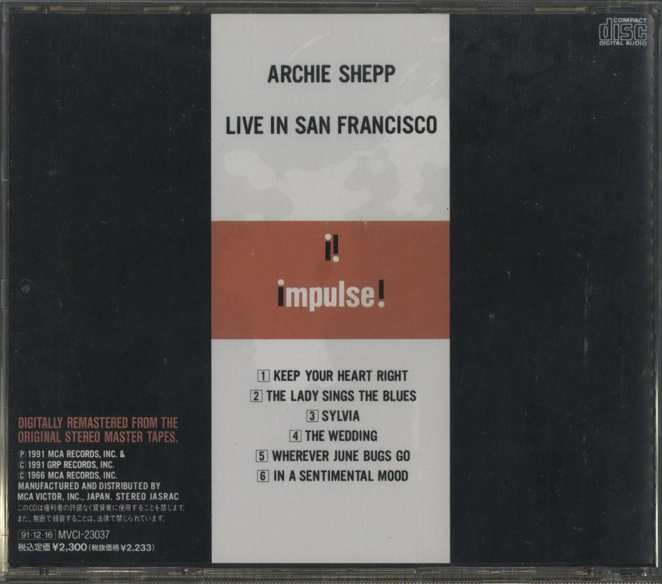LIVE IN SAN FRANCISCO/ARCHIE SHEPP ARCHIE SHEPP 画像