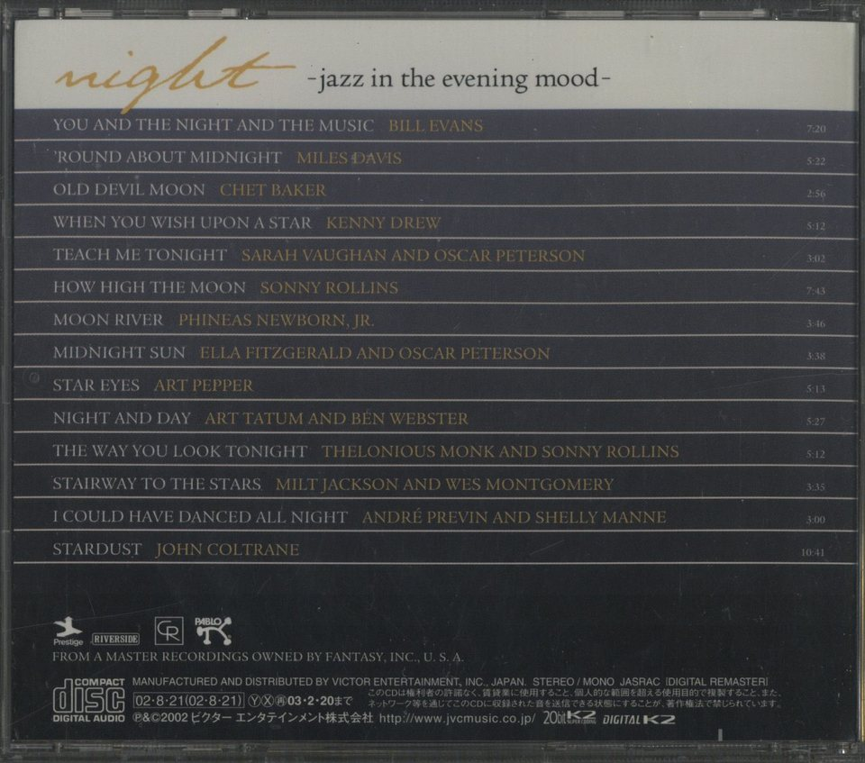 NIGHT -JAZZ IN THE EVENING MOOD- V.A. 画像